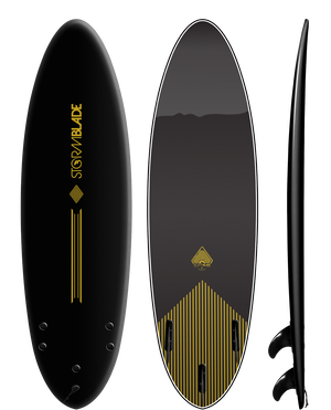 Storm Blade 6ft4 Round Tail Surfboard / BLACK  BLACK GRAPHIC