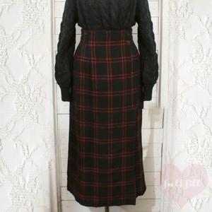ブラック×レッド チェック柄 ウールラップスカート