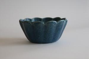 森の種陶工所 輪花切立3.5寸鉢 青