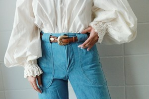 brown leather golden tone concho belt