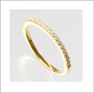スワロフスキーの指輪◆シルバー イエローゴールドメッキ マイクロパヴェセッティング◆極細 1.5mm 3号~15号