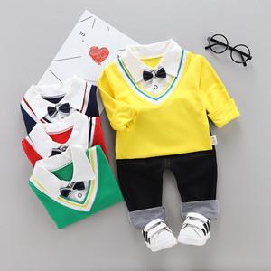 【セットアップ】カレッジ風 ファッション コットン POLOネック 長袖 レギュラー丈 子供服 男の子 セットアップ2点セット24838004