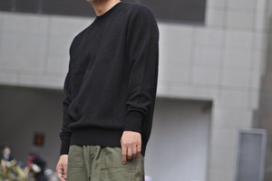 【Phlannèl】Wool Cashmere Crew Neck Knit(Men's) col.Black