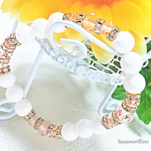 【ブレスレット】天然石デザインブレスレット-ホワイトオニキス(ピンク)-(bracelet-007)