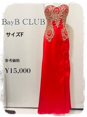 着画あり BayB CLUB スリット入り ゴールド刺繍 背中編み上げ FREE