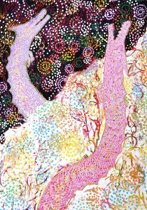 【共昇龍】カラフル/アート/絵画/双龍/白龍/金色/ピンク/パープル/エネルギー/宇宙