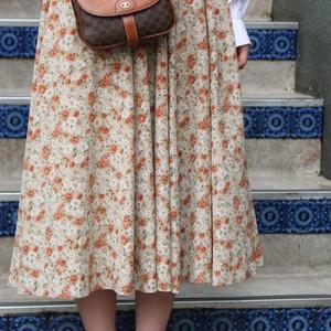 RETRO FLOWER PATTERNED FLARE SKIRT /レトロ古着花柄フレアスカート