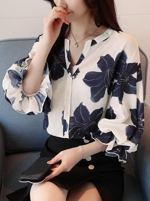 【tops】Fashion design elegant print shirt