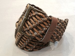 KRIZIA leather mesh belt / Made in Italy[c-357]