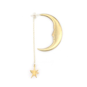 月とお星さまピアス ゴールド