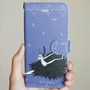 (iPhone)黒鳥 手帳型スマホケース