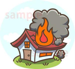 火事!燃える家イラスト素材