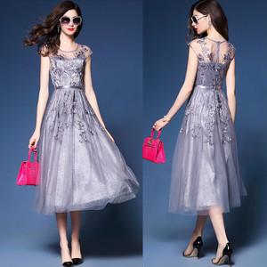 fbc73059bac8f ドレス メッシュ 刺繍 ノースリーブ パーティードレス 結婚式