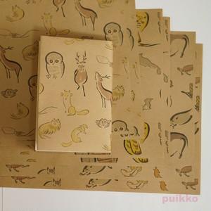 紙製ブックカバー 鳥獣略画式(カラー)