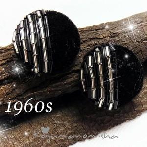英国 ヴィンテージ☆ハンドメイド★シックなブラック ベルベット ビーズ細工 サーキュラー イヤリング 1960s