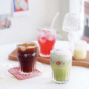 flower pleats glass cup 400ml / 韓国 レトロ フラワー コップ