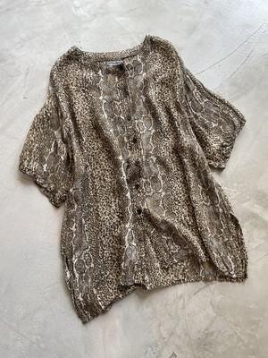 vintage snake pattern sheer blouse
