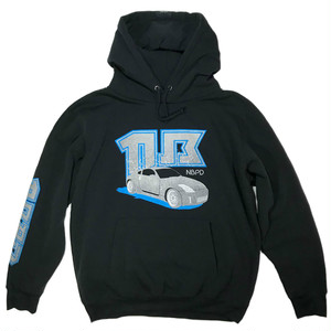 "Printed hooded top ""Sports car"" BLK&Blue"