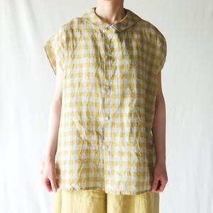 Vlas Blomme - Scenery Linen Check ブラウス - Yellow