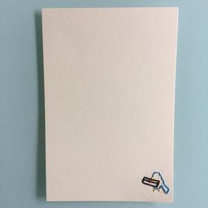 刺繍ポストカード(青い鳥とラブレター)