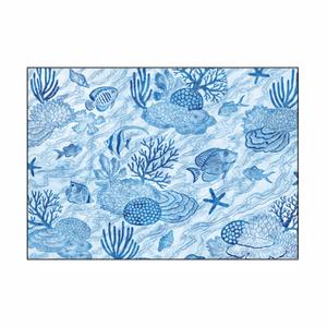 【ファブリックパネル/A2サイズ】珊瑚と魚の青い煌めき
