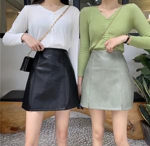 全3色♡ フェイクレザーミニスカート♡