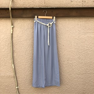 Satin Straight Pants    Color : Light Blue