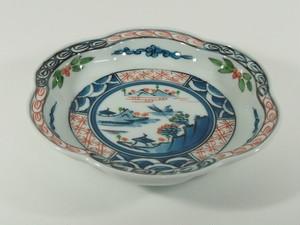 渕地紋山水花型5寸皿