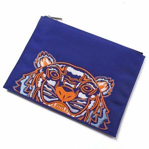KENZO (ケンゾー) LARGE POUCH タイガー Tiger クラッチバッグ A4ポーチ ブルー オレンジ ホワイト トラ[全国送料無料] r014714