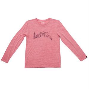 プリントロングスリーブTシャツ:ヘザーレッド