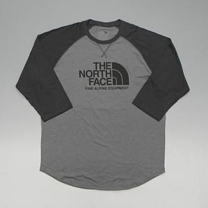 【メール便全国送料無料】THE NORTH FACE ノースフェイス BASEBALL TEE ラグランスリーブ 7分袖 Tシャツ ハーフドームロゴ グレー