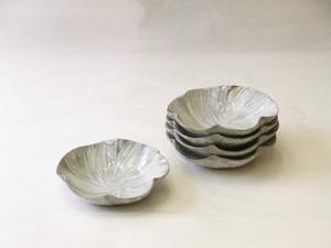 清水焼 刷毛目 花形 銘々皿5枚組