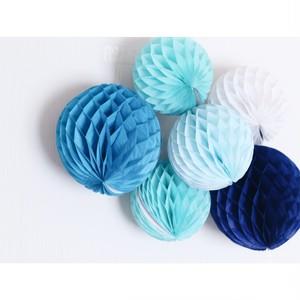 【6個セット】ハニカムボール(ブルー系)