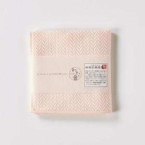わた音ハンカチーフ/ヘリンボーン織り/桃色(モモイロ)1-65608-86-P