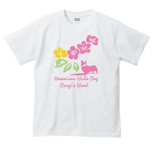 No.0016  ハイビスカスとコーギーTシャツ バージョン1