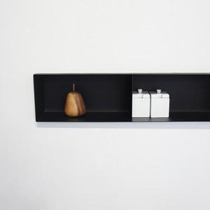 【ムク壁付ボックスシェルフ(MUK-1657)】サンドブラック
