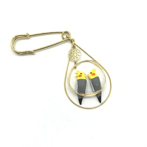 【toriko】オカメインコ(ノーマル) 2羽乗りブローチ