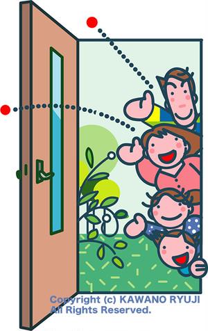 ドアから家族が挨拶_aiデータ(ベクターデータ)