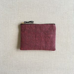 Accessory case 14cm Pink herringbone
