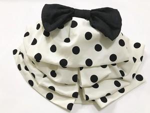 オフホワイトに黒ドットのふわふわ帯【作り帯】リボン付き