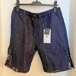 Gimmick Layered Design Denim Shorts Navy