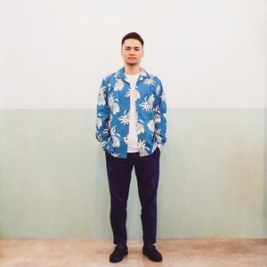 Mountain Men's 長袖オープンアロハシャツ / Pineapple Sax Blue / 残り僅か