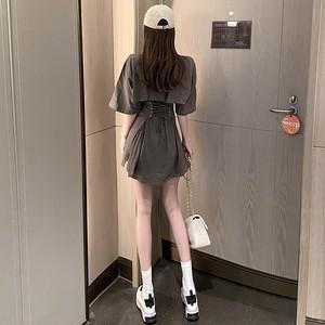 【ワンピース】ファッション五分袖ラウンドネックAラインワンピース31970740