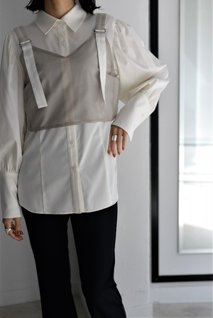 ROOM211 unique / layered bustier shirt (white)
