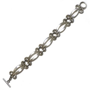 Vintage Sterling Silver Mexican Oval Chain Link Toggle Bracelet