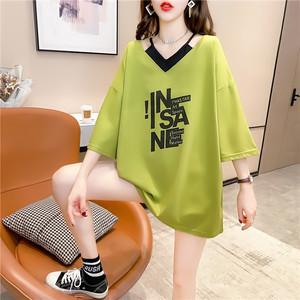 【トップス】韓国系半袖Vネックプルオーバー切り替えTシャツ44457270