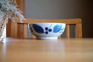 砥部焼/丼(中)/ブルー木の葉/森陶房