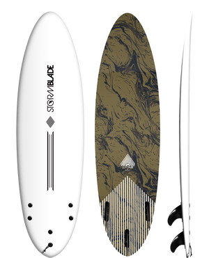 Storm Blade 6ft4 Round Tail Surfboard / WHITE  GOLD MARBLE GRAPHIC
