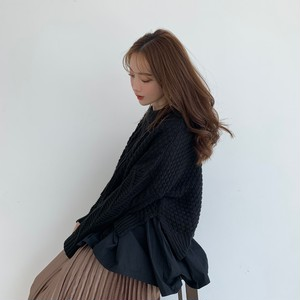 layered cable knit / black (即納)