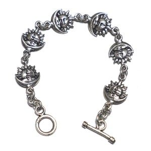 Vintage Sterling Silver Mexican Sunface & Moonface Chain Link Toggle Bracelet